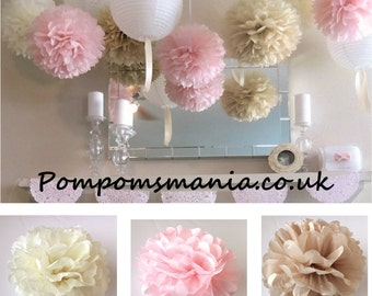 Set of 15 units (5+10) of  tissue paper pom poms - handmade - lots of colours to choose from