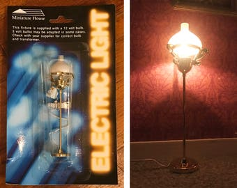 dollhouse lamp 1:12 floor lamp reading light by miniature house brass color