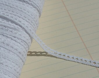 "White Cluny Lace - Narrow Natural Crochet Torchon Cluny Trim - 1/4"" Wide"