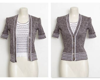 Space Dyed Top / Brown & White Attached 2 pc. Ribbed Button-down Shirt / Vintage 70s Marianne Fashions Pullover