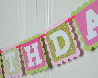 Butterfly Happy 2nd Birthday Banner, Birthday Party, Butterfly Theme, Pink, Hot Pink and Green Theme