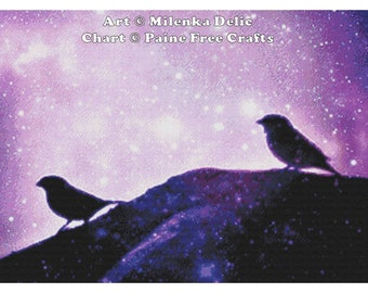 Bird Silhouette  - emailed PDF cross-stitch chart / pattern, original art © Milenka Delic  licenced by Paine Free Crafts