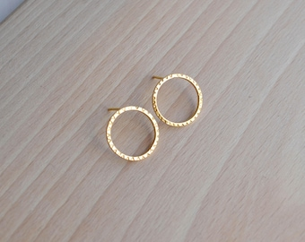 Gold Textured Circle Stud Earrings | Gold Circle Ear Studs