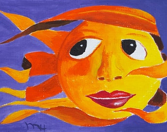 "ACEO Original Acrylic Painting, Even the Sun has a Bad Hair Day, 2.5x3.5"", Artist Trading Card, miniature card, by Michael Hutton"