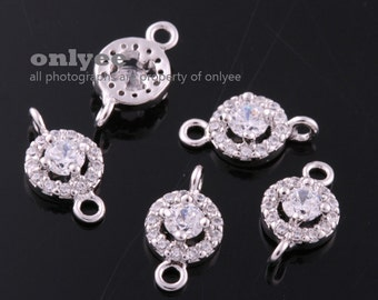 2pcs-10.5mmX6mmBright Rhodium plated Brass Cubic zirconia Oval Round Connectors(K1087S)