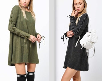 Acid Wash Lace Up Sleeve Fit & Flair Cotton Dress