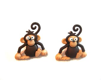 Monkey Buttons Silly Safari Dress It Up Buttons Jesse James Buttons Set of 2 Shank Flat Back Craft Hair Card Making Scrapbook Supply - 783 B