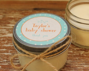 Set of 12 - 4 oz Baby Shower Favor Candles - Rustic Dots Tag-ANY COLOR-Boy Baby Shower Favors // Girl Baby Shower Favor // Soy Candle Favors