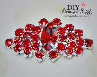Large Red Crystal Embellishment Rhinestone Buttons flatback  Bridal Accessories for  Headbands flowers centers 3 pcs 35mm 801040