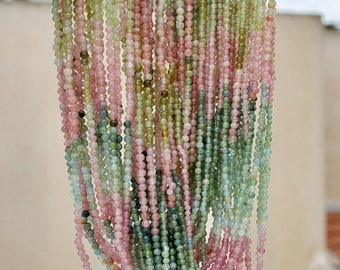 """Pink Green Blue Multi Pastel Afghan Gem Watermelon Tourmaline Tiny 2.2-2.3mm Seed Plain Smooth Round Beads full 14"""" strand"""
