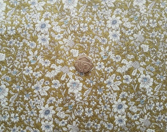 Rose & Hubble 100% Cotton Poplin Fabric -  Small Floral design - Sage Green - Dressmaking , Quilting, Craft Material