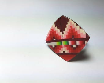 Earrings, geometric pattern patchwork