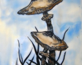 Woodland mushrooms on sky blue Original encaustic wax painting wall art