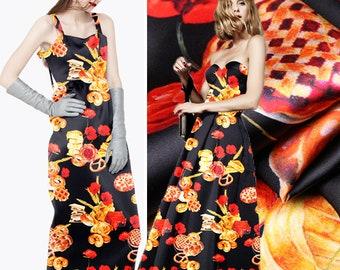 Floral Print Silk Fabric By The Yard Stretch Silk Satin Fabric Fashion Dress Fabric Women Clothing Fabric Skirt Fabric Gown Fabric-QUQI