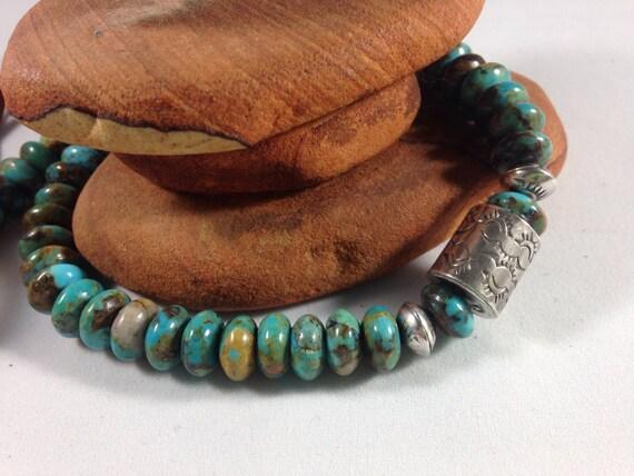 Handmade, Southwestern, Blue Kingman Arizona Rondelle Turquoise Beads, Sterling Silver Bead, Saddle Brown Leather Necklace