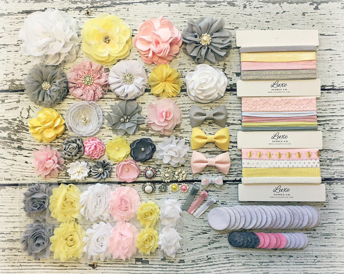 Baby Shower Headband Kit Pink Grey Yellow White Mom