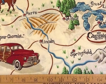 Chevy station wagon cotton fabric by the yard
