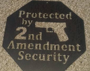 2nd Amendment Security-metal art-door hanger-wall art-steel art