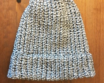 White and Black Soft Knitted Beanie - Ready to ship adult/teen knit hat