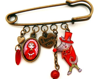 Little red riding and wolf brooch pin