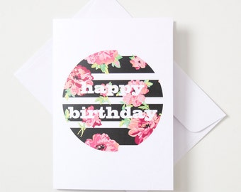 Greeting Card - Geo Circle / Floral Stripe