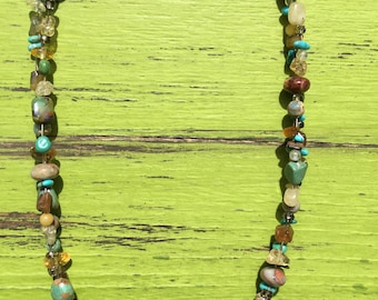 Handmade necklace with  Turquoise, Citrine, smoky quartz, African Opal, Tiger Eye, and Diamond Matrix