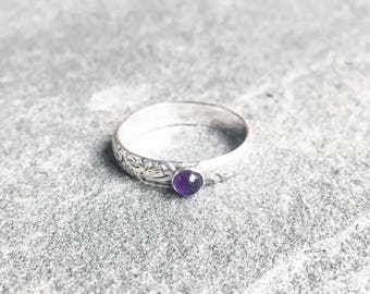 Sterling Silver Aiki Ring with Amethyst
