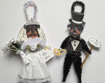 Rottweiler BRIDE & GROOM ornaments Wedding Dog ornaments vintage style chenille ORNAMENTS set of 2