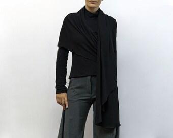 blouse,black blouse,asymmetric blouse,knitted blouse,long sleeves,original blouse,autumn blouse,black top,fall trend,wrap Model B56