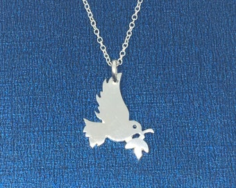 Sterling Silver Bird Necklace, Sterling Silver Bird of Peace Charm Necklace, Peace-Dove Pendant, Birthday Gift, Gift for Her, Uk shop