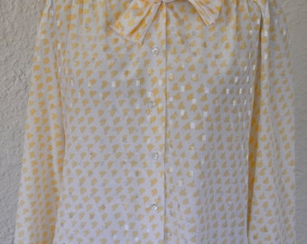 Vintage white and yellow 1970s blouse. Top. Shirt. button up.