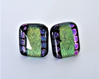 Dichroic Glass Yellow Green and Purple Dot with Clear Topping Glass Stud Earrings Yellow Green and Purple Dot Dichroic Fused Glass Posts