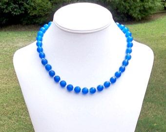 Blue Gemstone Necklace Blue Agate Necklace Blue Necklace Multifaceted Blue Necklace 10mm Round Grade A Royal Blue Agate Gemstone Necklace