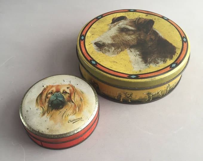 1950s dog tin set