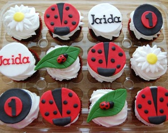 Lady Bug Cupcake Toppers (100% Edible)
