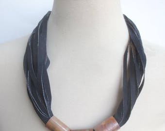 Navy Blue Suede Necklace, String Leather Statement Necklace Copper Spacers Leather Jewelry