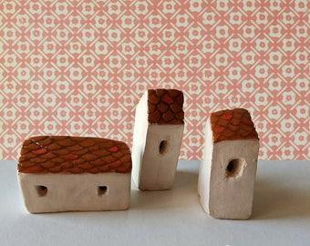 Three Little Ceramic Houses
