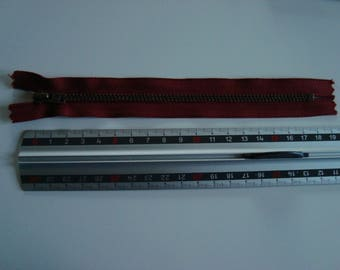 18 cm - inseparable zip with metal slide antique gold - 18 cm - oxblood Red