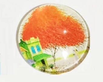 30mm cabochon tree of life orange