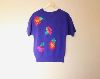 1980s Vintage Floral Knit Sweater Top