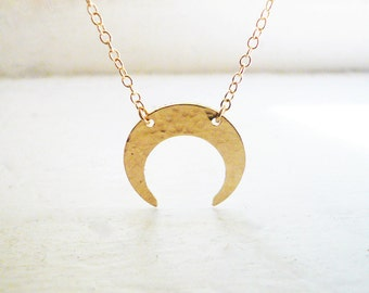 Hammered Gold Crescent Moon Necklace in 14K Gold Filled - Gold Inverted Moon Necklace, Tribal Gold Crescent Moon Necklace