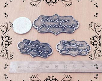 Pewter Plaque Wedding Favour- Thank you for Joining us