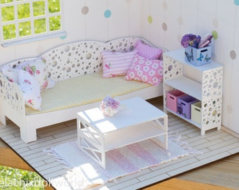 1/4 size miniature roombox / diorama finished kit with or without furniture. BJD MSD furniture dollhouse