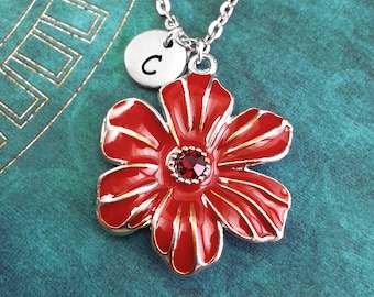 Red Flower Necklace, Flower Keychain, Nature Necklace Personalized Necklace Hand Stamped Necklace Charm Necklace Engraved Necklace Initial