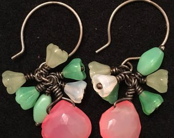 Rockabilly organic chalcedony & glass earrlings antiqued sterling