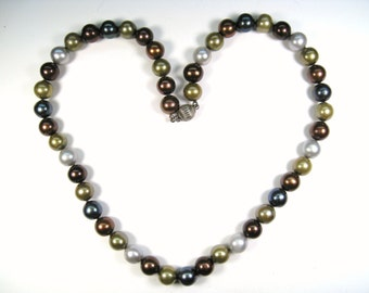 Multi Colored Freshwater Pearl Necklace - 925 Sterling Silver