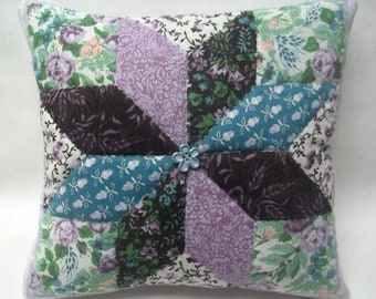Quilted Star Design Fabric Panel Mini Pillow Calico Print Fabric Hand Quilted Country Decor