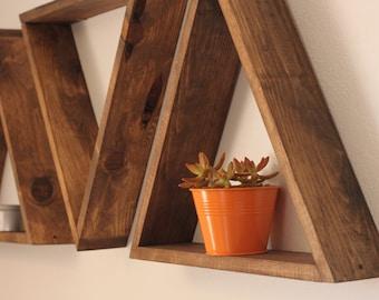 """Triangle Shelves, (4"""" Depth,) Triangle Shelf, Geometric Shelves"""