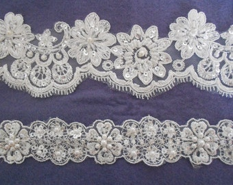 Ivory Beaded Lace Edgings in a choice of 2 designs. Per Meter
