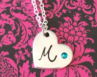 Personalized initial pendant - letter necklace - with Swarovski birthstone pendant with necklace - I love you - great gift -great mother gif
